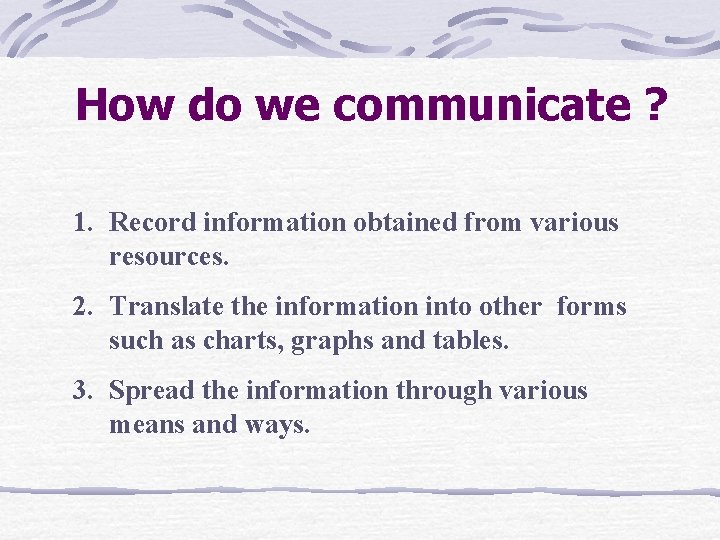 How do we communicate ? 1. Record information obtained from various resources. 2. Translate