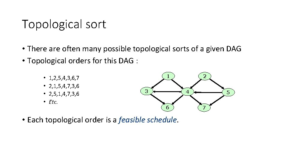 Topological sort • There are often many possible topological sorts of a given DAG