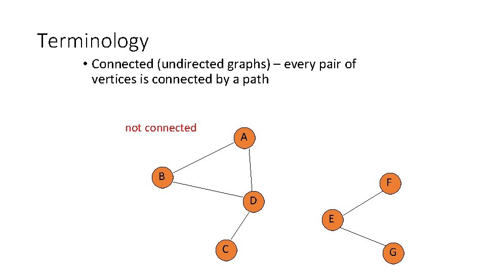 Terminology • Connected (undirected graphs) – every pair of vertices is connected by a