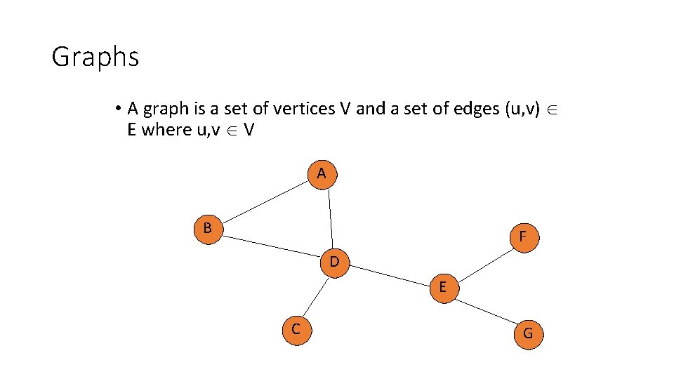 Graphs • A graph is a set of vertices V and a set of