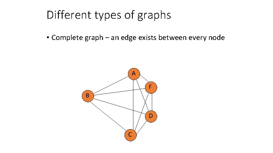 Different types of graphs • Complete graph – an edge exists between every node