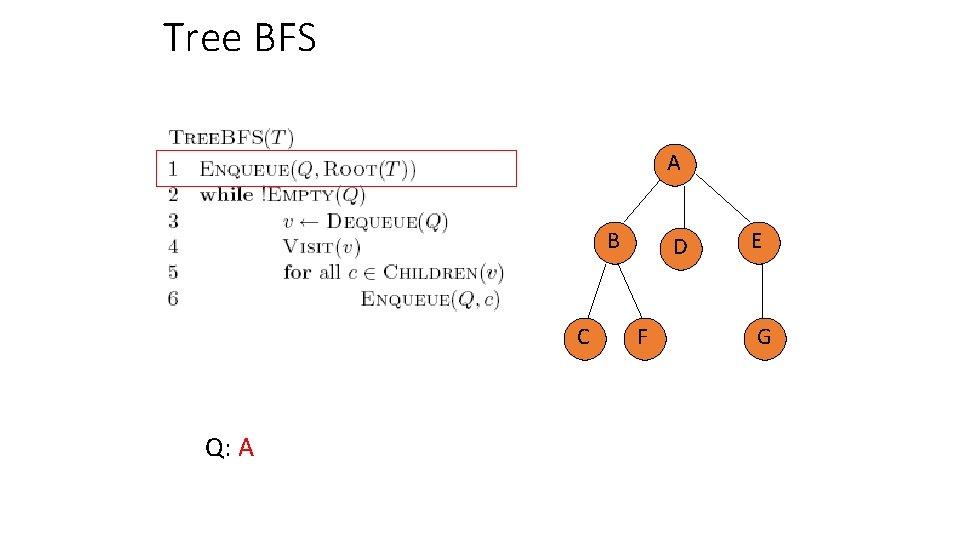 Tree BFS A B C Q: A D F E G