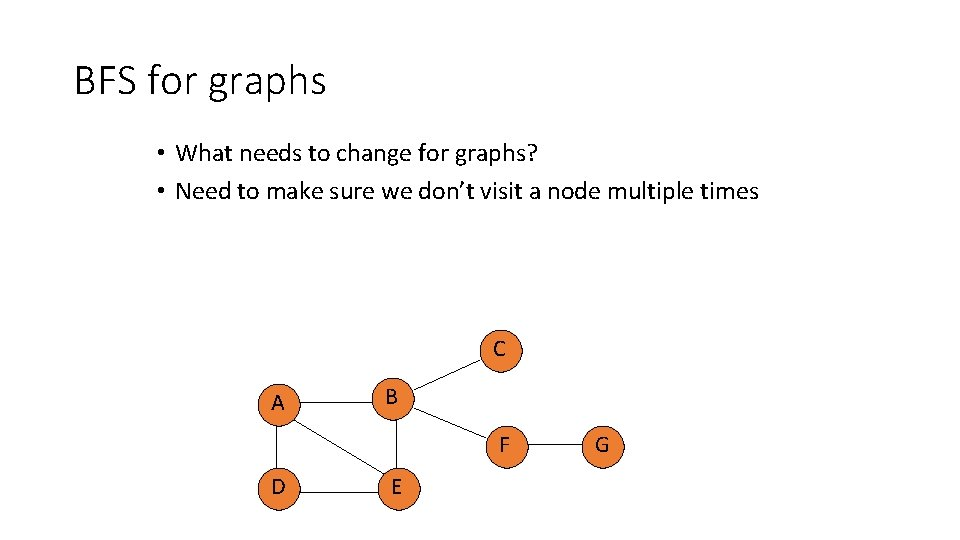 BFS for graphs • What needs to change for graphs? • Need to make