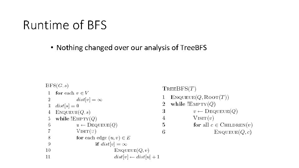 Runtime of BFS • Nothing changed over our analysis of Tree. BFS
