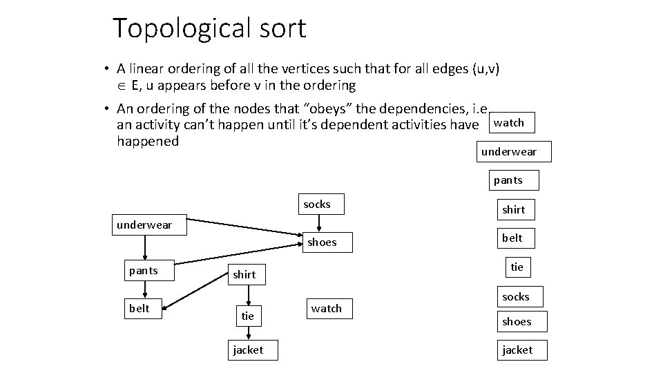 Topological sort • A linear ordering of all the vertices such that for all