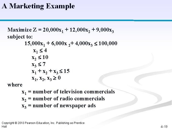 A Marketing Example Maximize Z = 20, 000 x 1 + 12, 000 x