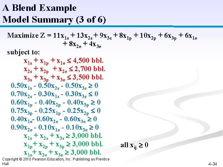 A Blend Example Model Summary (3 of 6) Maximize Z = 11 x 1