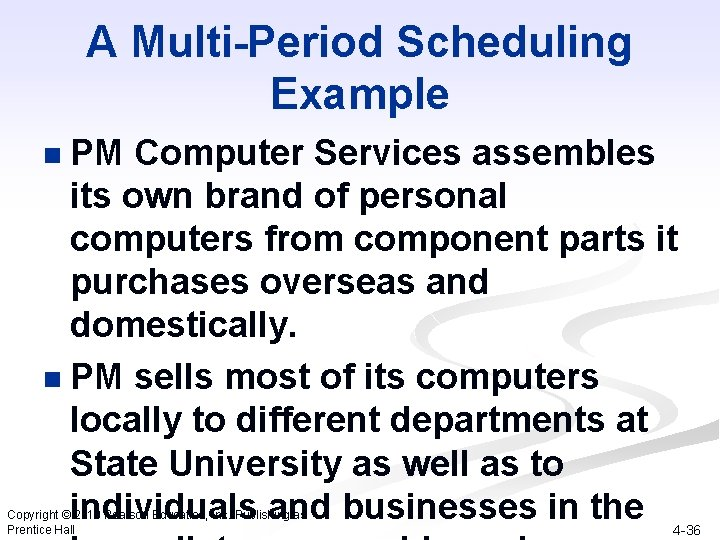 A Multi-Period Scheduling Example PM Computer Services assembles its own brand of personal computers