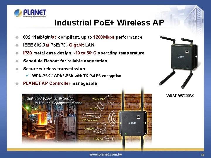 Industrial Po. E+ Wireless AP u 802. 11 a/b/g/n/ac compliant, up to 1200 Mbps