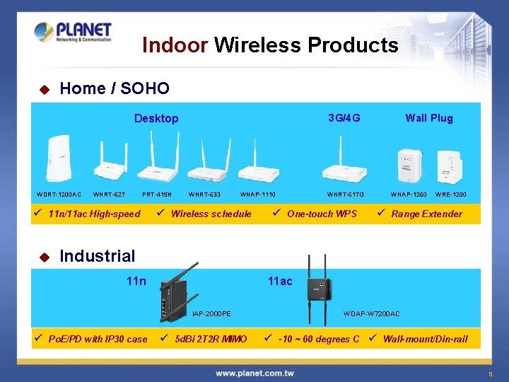 Indoor Wireless Products u Home / SOHO 3 G/4 G Desktop WDRT-1200 AC WNRT-627