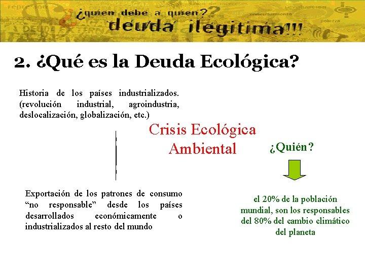 2. ¿Qué es la Deuda Ecológica? Historia de los países industrializados. (revolución industrial, agroindustria,