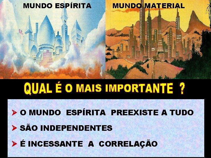 MUNDO ESPÍRITA MUNDO MATERIAL O MUNDO ESPÍRITA PREEXISTE A TUDO SÃO INDEPENDENTES É INCESSANTE