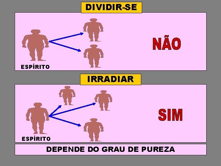 DIVIDIR-SE ESPÍRITO IRRADIAR ESPÍRITO DEPENDE DO GRAU DE PUREZA