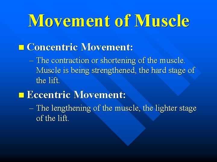 Movement of Muscle n Concentric Movement: – The contraction or shortening of the muscle.