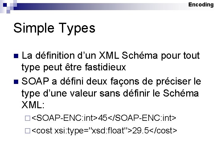 Encoding Simple Types La définition d'un XML Schéma pour tout type peut être fastidieux