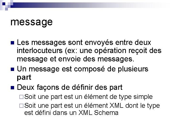 message Les messages sont envoyés entre deux interlocuteurs (ex: une opération reçoit des message