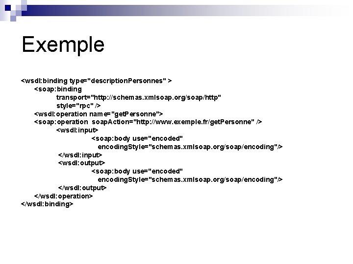 "Exemple <wsdl: binding type=""description. Personnes"" > <soap: binding transport=""http: //schemas. xmlsoap. org/soap/http"" style=""rpc"" />"