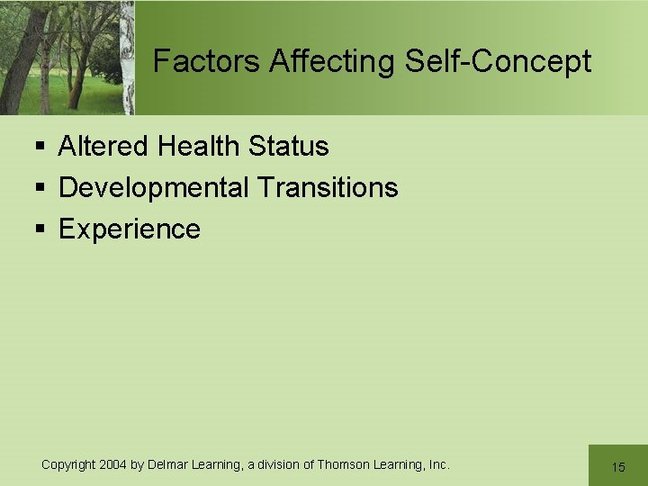 Factors Affecting Self-Concept § Altered Health Status § Developmental Transitions § Experience Copyright 2004