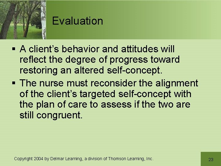 Evaluation § A client's behavior and attitudes will reflect the degree of progress toward