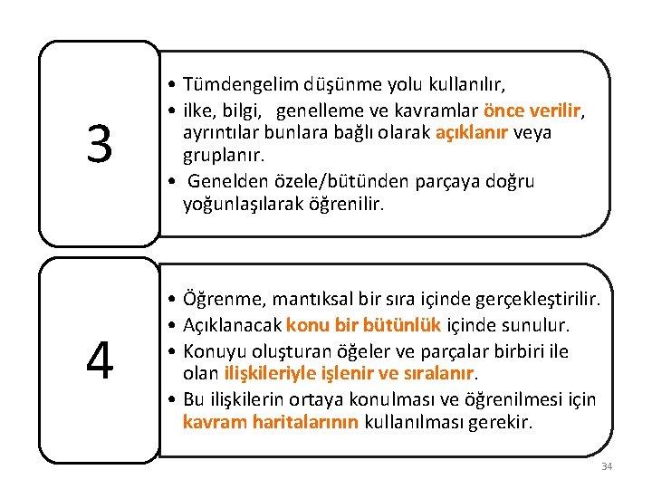 3 • Tümdengelim düşünme yolu kullanılır, • ilke, bilgi, genelleme ve kavramlar önce verilir,