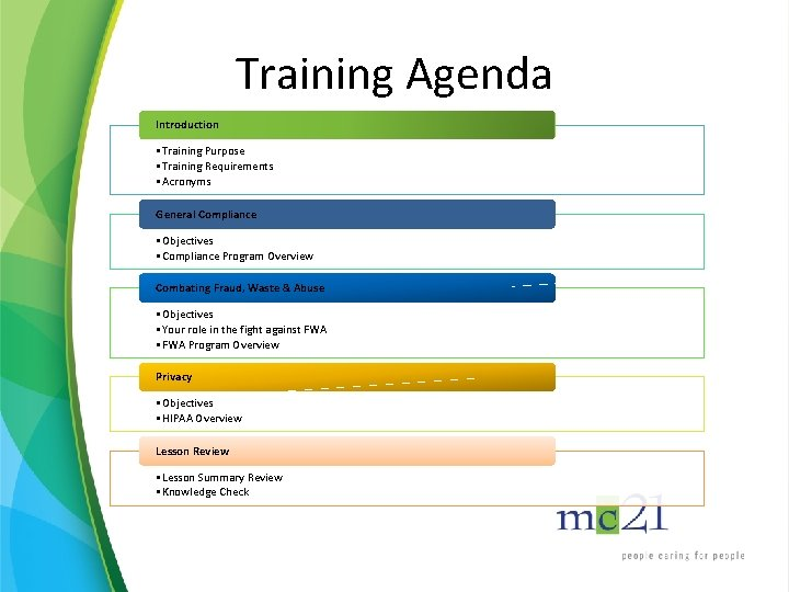 Training Agenda Introduction • Training Purpose • Training Requirements • Acronyms General Compliance •