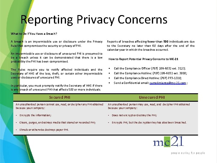 Reporting Privacy Concerns What to Do If You Have a Breach? A breach is
