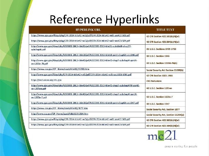 Reference Hyperlinks