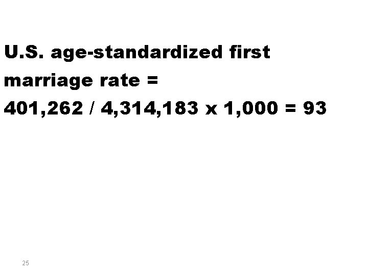 U. S. age-standardized first marriage rate = 401, 262 / 4, 314, 183 x
