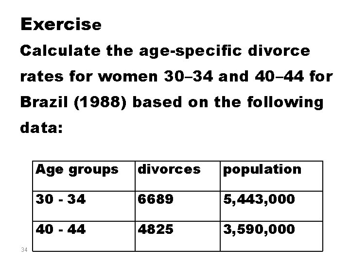 Exercise Calculate the age-specific divorce rates for women 30– 34 and 40– 44 for
