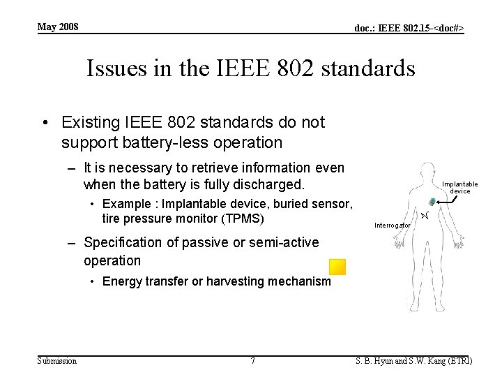 May 2008 doc. : IEEE 802. 15 -<doc#> Issues in the IEEE 802 standards