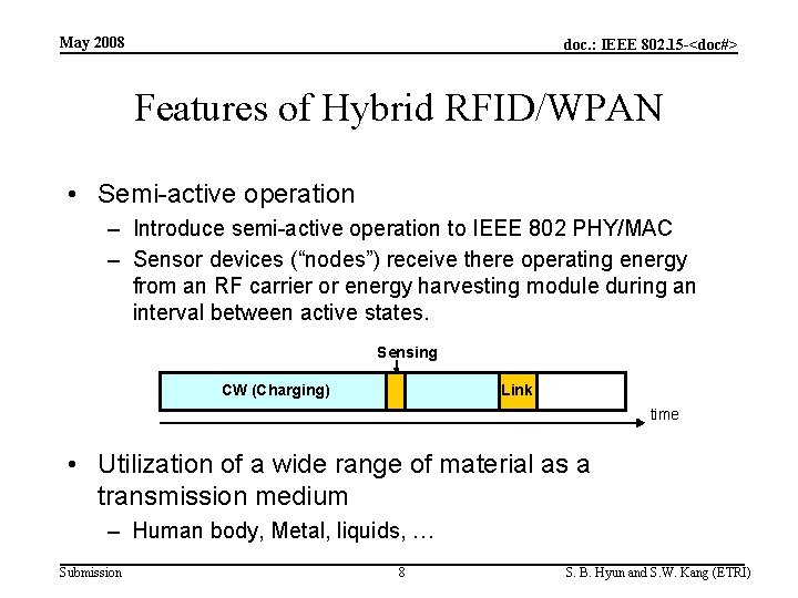 May 2008 doc. : IEEE 802. 15 -<doc#> Features of Hybrid RFID/WPAN • Semi-active