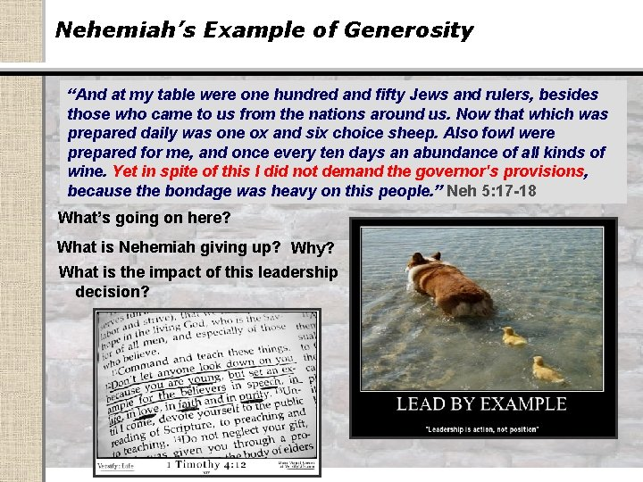 """Nehemiah's Example of Generosity """"And at my table were one hundred and fifty Jews"""