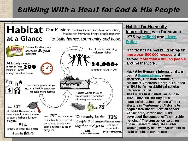 Building With a Heart for God & His People Habitat for Humanity International was
