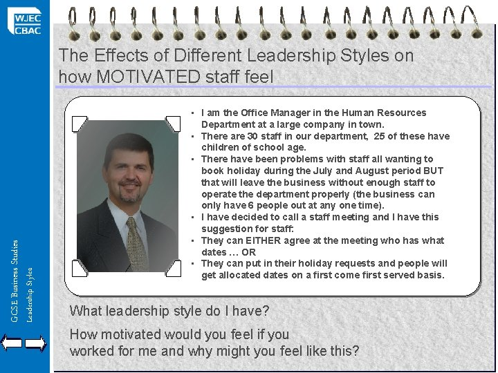 Leadership Styles GCSE Business Studies The Effects of Different Leadership Styles on how MOTIVATED