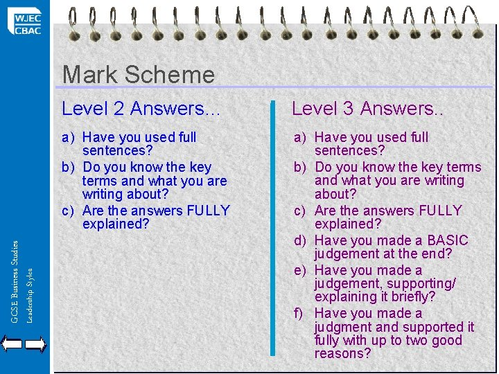 Leadership Styles GCSE Business Studies Mark Scheme Level 2 Answers… Level 3 Answers. .