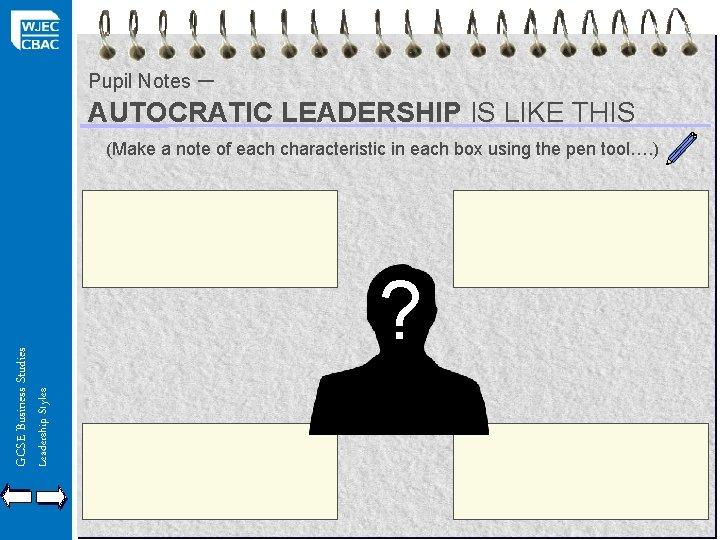 – AUTOCRATIC LEADERSHIP IS LIKE THIS Pupil Notes Leadership Styles GCSE Business Studies (Make