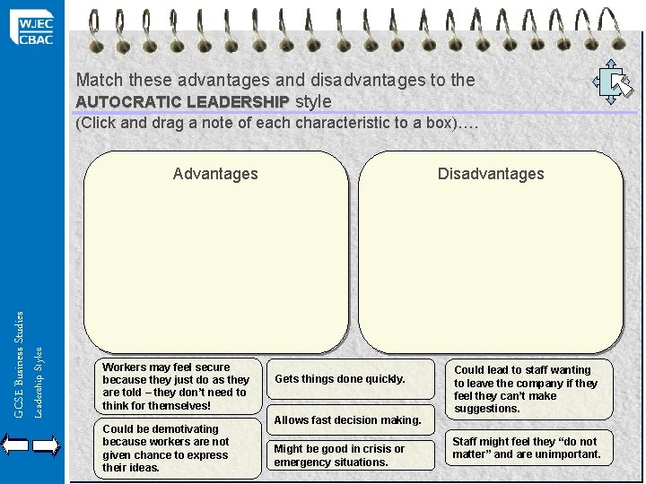 Match these advantages and disadvantages to the AUTOCRATIC LEADERSHIP style (Click and drag a
