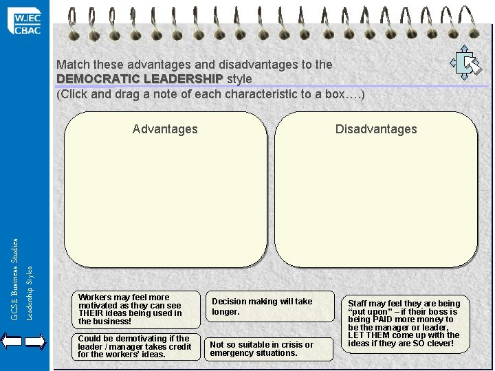 Match these advantages and disadvantages to the DEMOCRATIC LEADERSHIP style (Click and drag a