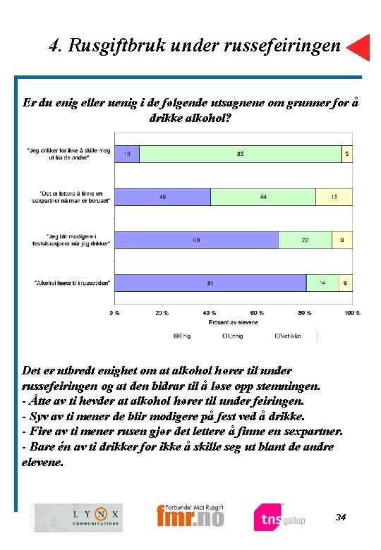 4. Rusgiftbruk under russefeiringen Er du enig eller uenig i de følgende utsagnene om
