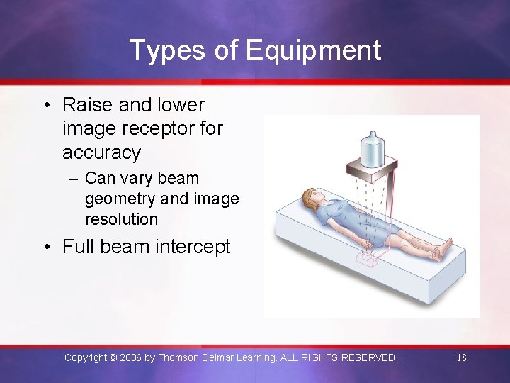 Types of Equipment • Raise and lower image receptor for accuracy – Can vary