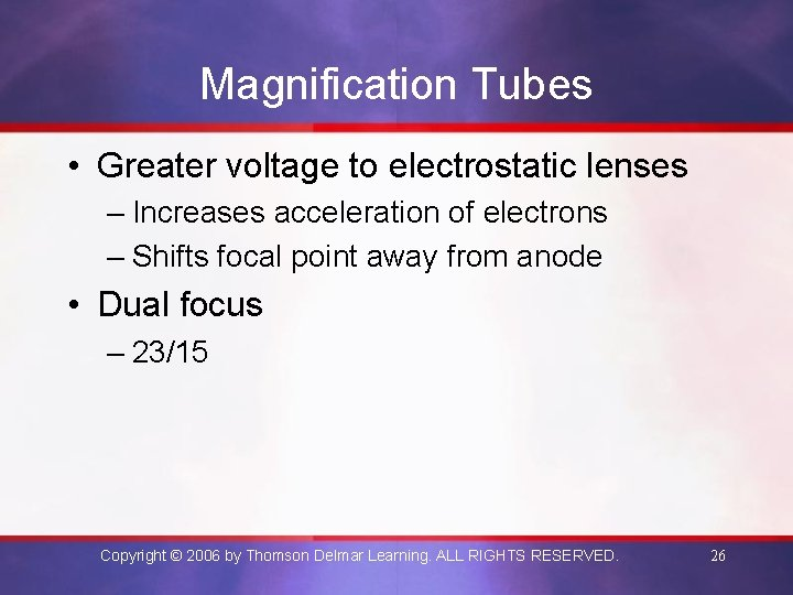 Magnification Tubes • Greater voltage to electrostatic lenses – Increases acceleration of electrons –