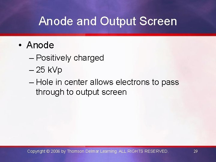 Anode and Output Screen • Anode – Positively charged – 25 k. Vp –