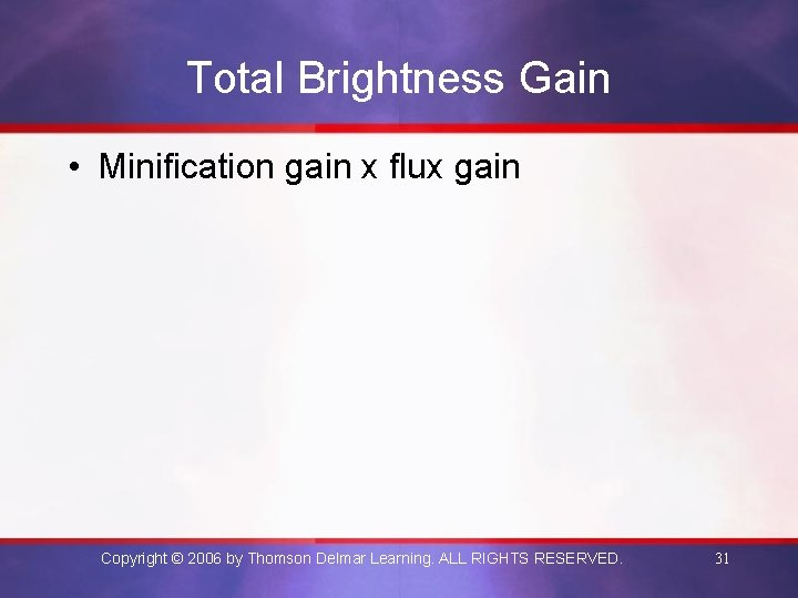 Total Brightness Gain • Minification gain x flux gain Copyright © 2006 by Thomson