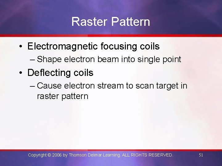Raster Pattern • Electromagnetic focusing coils – Shape electron beam into single point •