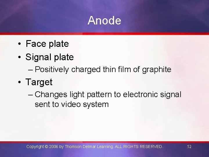 Anode • Face plate • Signal plate – Positively charged thin film of graphite