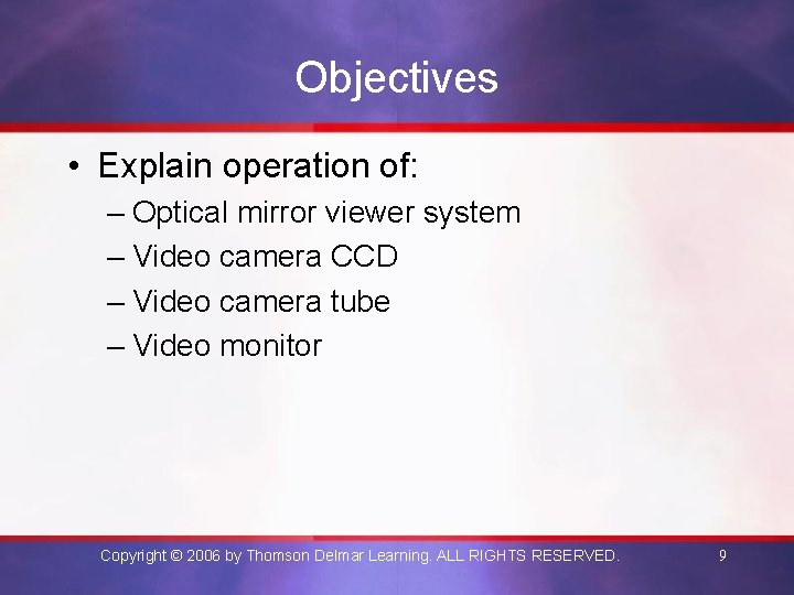 Objectives • Explain operation of: – Optical mirror viewer system – Video camera CCD