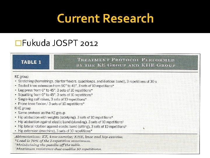 Current Research �Fukuda JOSPT 2012