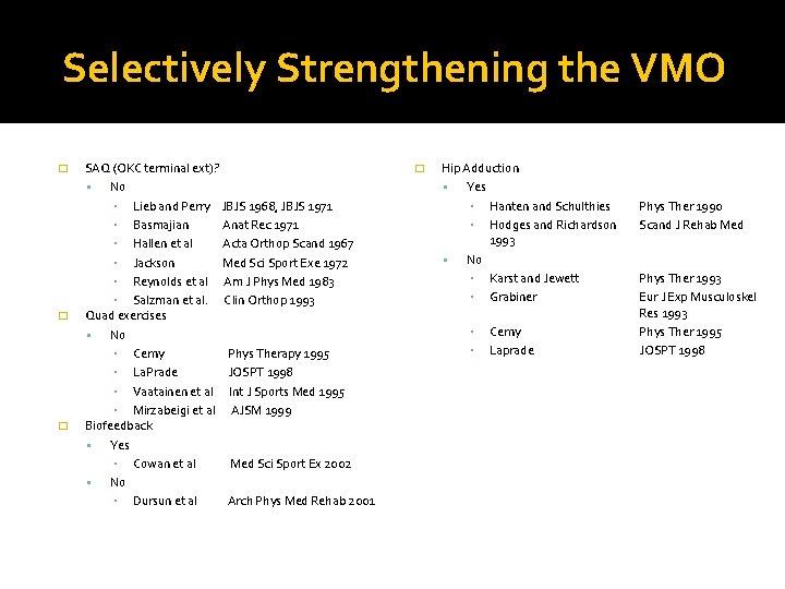Selectively Strengthening the VMO � � � SAQ (OKC terminal ext)? No ▪ Lieb