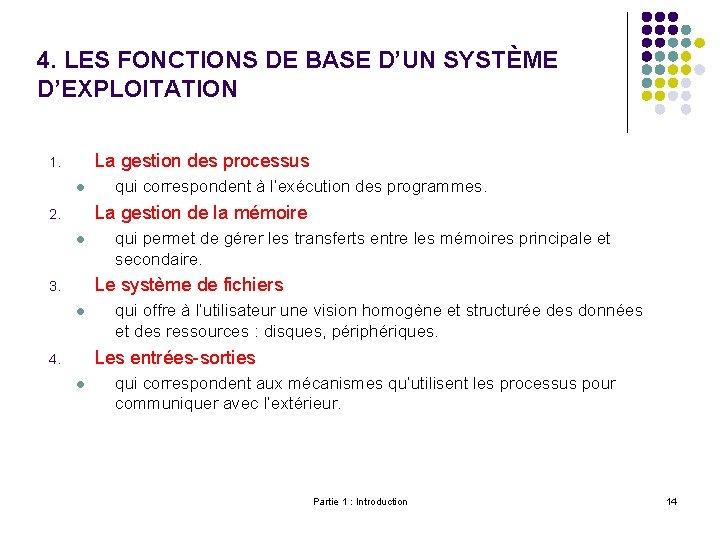 4. LES FONCTIONS DE BASE D'UN SYSTÈME D'EXPLOITATION La gestion des processus 1. l