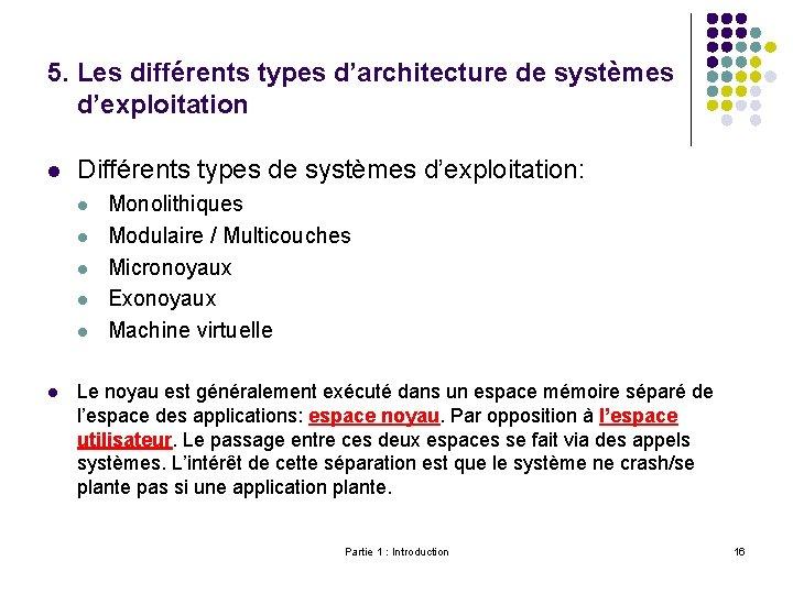 5. Les différents types d'architecture de systèmes d'exploitation l Différents types de systèmes d'exploitation: